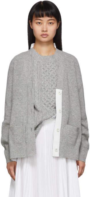 Sacai Grey and White Knit Wool Cardigan