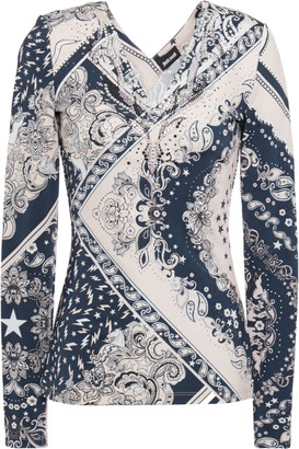 Just Cavalli Crystal-embellished Printed Stretch-jersey Top