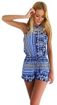 Gaosa Women's Sexy Bohemian Halter Backless Jumpsuit Playsuit Rompers Shorts