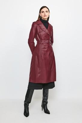 Karen Millen Faux Leather Trench Coat
