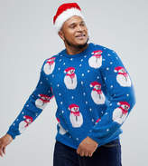 Asos Plus Christmas Jumper With Fluffy Snowman