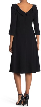 Gabby Skye 3/4 Sleeve Crepe Midi Dress