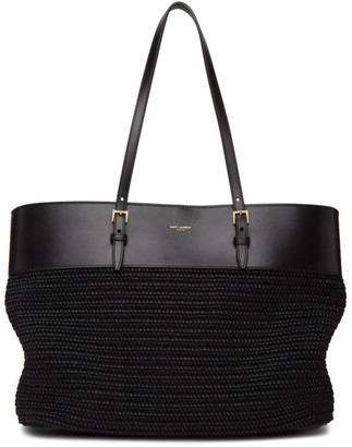 Saint Laurent Black Raffia East/West Shopping Tote