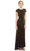 Calvin Klein Cowl Back Cap Sleeve Sequin Gown