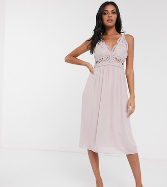 TFNC Bridesmaid halter neck midi dress with lace inserts in taupe-Brown