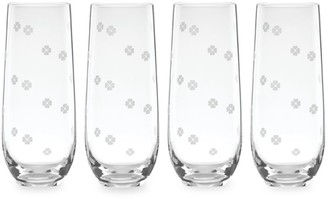 Kate Spade Spade Clover 4-Piece Stemless Champagne Flute Set