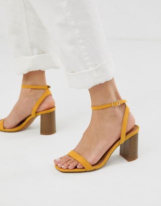 ASOS DESIGN Hong Kong barely there block heeled sandals in mustard