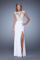 La Femme 21065 Cap Sleeve Illusion Lace Gown