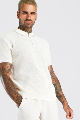 boohoo Mens White Short Sleeve Knitted Half Zip Polo with Tipping, White