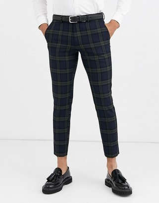 Moss Bros smart pants in navy plaid