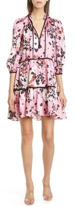Veronica Beard Hawken Floral Tiered Silk Blend Minidress