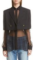 Saint Laurent Women's Wool Crop Officer Jacket