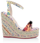 Sophia Webster Laurellie Floral-Print Leather Espadrille Platform Wedges