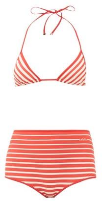 Valentino Striped Triangle High-rise Bikini - Red Multi