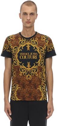 Versace BAROQUE PRINTED COTTON JERSEY T-SHIRT