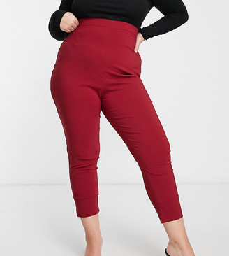 Vesper Plus high-waist pants in deep raspberry