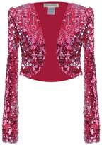 Anna-Kaci Womens Glitter Sequins Long Sleeve Cropped Bolero Top Jacket Shrugs