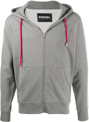 Diesel Brandon side logo stripe zip-up hoodie