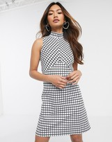 Miss Selfridge mini dress with high neck in check