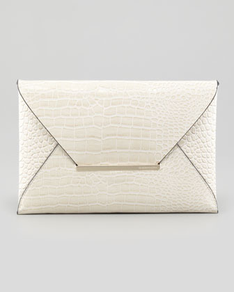 BCBGMAXAZRIA Crocodile-Embossed Envelope Clutch, Oyster