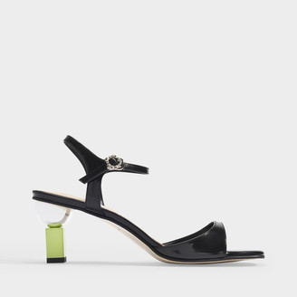 YUUL YIE Sora Sandals In Black Leather With Lime Heels