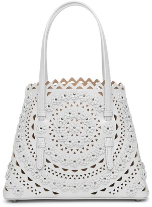 Alaia Mina Small Flower light grey tote bag