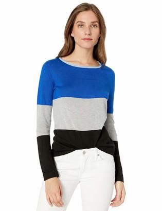 Vince Camuto Women's Long Sleeve Boat Neck Wide Stripe Sweater