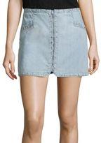 Paige Rosie HW x Hattie Zip-Front Denim Skirt