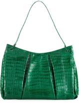 Nancy Gonzalez Crocodile Large Pleated Tote Bag, Deep Green