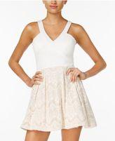 Crystal Doll Juniors' Lace Cutout-Back Dress