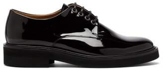 A.P.C. Lace Up Patent Leather Derby Shoes - Womens - Black