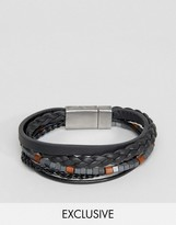 Seven London Leather & Beaded Bracelet In Black