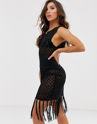 Asos Design DESIGN premium fringed hand crochet mini dress