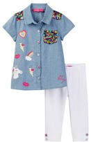 Betsey Johnson Sequined Chambray Top & Legging Set (Little Girls)