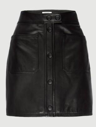 Frame Leather Patch Pocket Skirt
