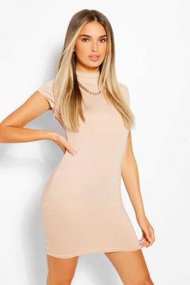 boohoo High Neck Cap Sleeve Bodycon Dress