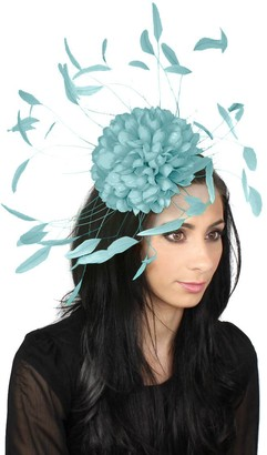 Hats By Cressida Womens Occasion Margeaux Feather Ascot Kentucky Derby Fascinator Hat with Headband - Baby Blue