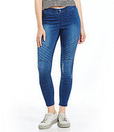 Hue Distressed Denim Moto Skimmer Leggings