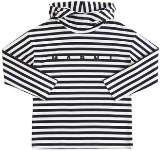 Marni Junior Stripes Cotton Jersey T-Shirt Hoodie