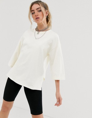 Noisy May 3/4 sleeve oversized sweatshirt-White