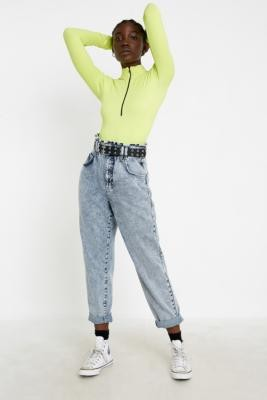 BDG April Acid Wash Ruffle Jeans - blue 24W 30L at Urban Outfitters