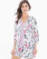 Cool Nights Pajama Wrap Floral Bird Ivory