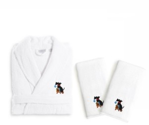 Linum Home Textiles Embroidered Luxury Hand Towels and Terry Bathrobe Set - Christmas Dog Bedding