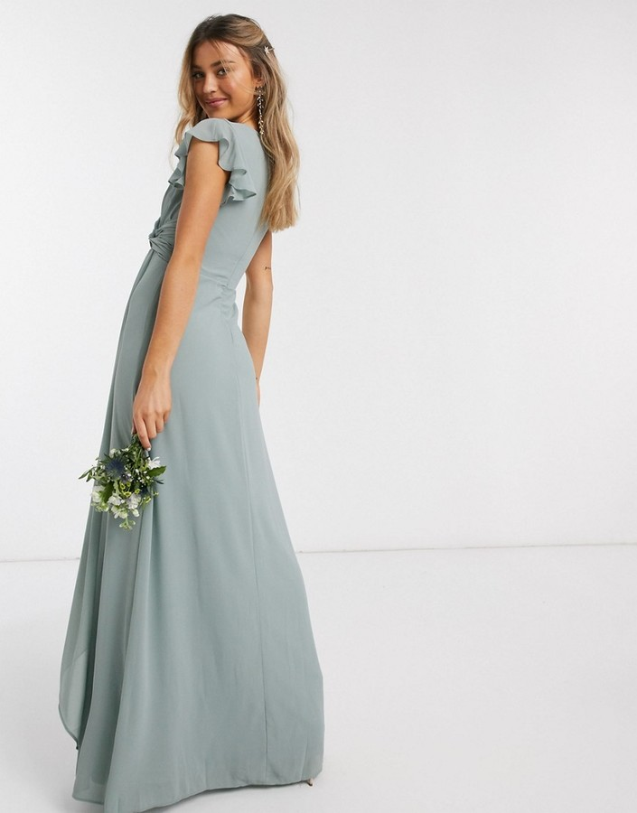Thumbnail for your product : TFNC bridesmaid flutter sleeve ruffle detail maxi dress in sage