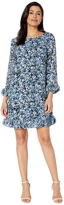 Tahari ASL Long Sleeve Printed Ditsy Floral Chiffon Dress with Hem and Sleeve Detail