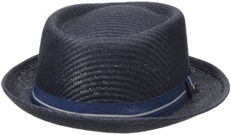 Ben Sherman Men's Blocked Straw Pork Pie Hat