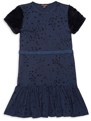 Imoga Little Girl's Girl's Faux Fur-Trim Printed Belted Dress