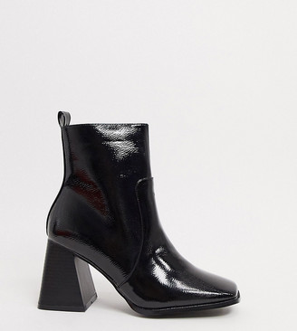 Raid Wide Fit Antonia square toe ankle boots in black patent
