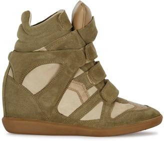 Isabel Marant Bekett 90 Olive Suede Wedge Sneakers