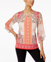 JM Collection Petite Printed Keyhole Tunic, Only at Macy's
